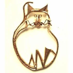 """Cute cat large gold tone brooch pin 3 1/2"""""""